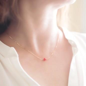 赤珊瑚『天然石の小さな1粒ネックレス- dainty 』14KGF シルバー925 ローズゴールドフィルド