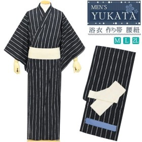 浴衣 メンズ 3点セット 作り帯 腰紐 ストライプ柄 黒色 白糸 おしゃれ シンプル m l 2l 綿 男性 men's ソフト ゆかた yukata