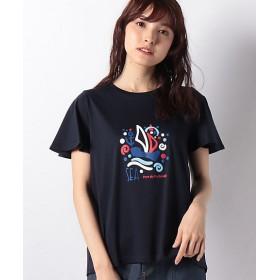 【SALE(三越)】<LAPINE BLEUE> 【洗える】スーピマスムース プリマシャインTシャツ ネービーブルー 【三越・伊勢丹/公式】