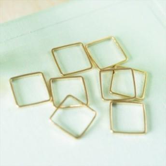 国内24KGPメッキ製フレームパーツ スクエア(約10x10mm)約10個 ゴールド メタルパーツ ハンドメイド資材 手芸材料
