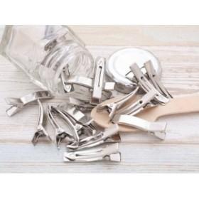 ヘアクリップパーツ(約3.5cm)約20個 シルバー ヤットコピン やっとこピン ヘア金具 髪留め ヘア小物 デコ素材 副資材 手芸材料 部品