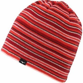 ミズノ(MIZUNO) ブレスサーモ ボーダーニットキャップ レッド フリーサイズ A2JW6541 62 【帽子 ニット帽 ビーニー カジュアル アウト