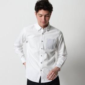 シャツ メンズ メンズ ポケットボーダーシャツ 「ホワイト」