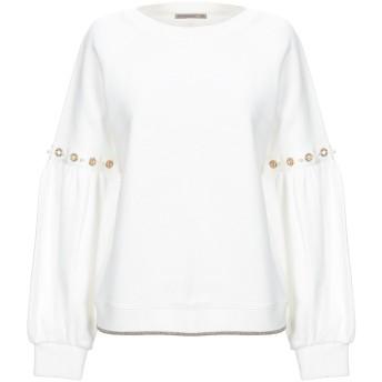 《セール開催中》PATRIZIA PEPE レディース スウェットシャツ ホワイト 1 コットン 50% / ポリエステル 25% / レーヨン 25% / ポリウレタン / 金属繊維