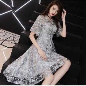 ドレス イブニングドレス パーティードレス ラウンドネック 半袖 フレアスリーブ フィッシュテール レー 4268-GY-W