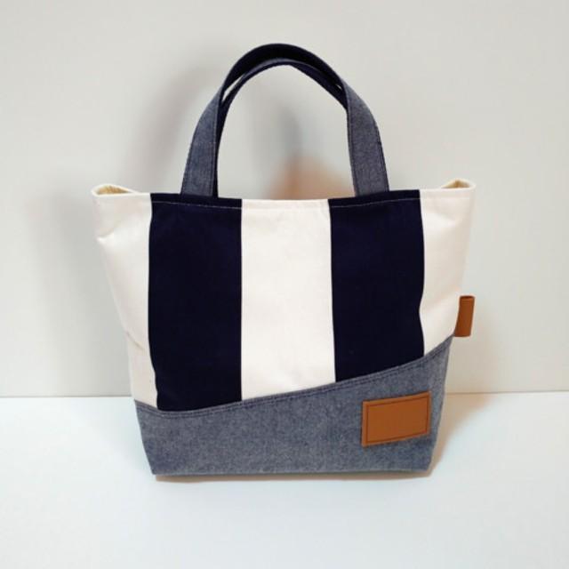 *Tote Bag* Stripe×Gray *トートバッグ* ストライプ×グレー