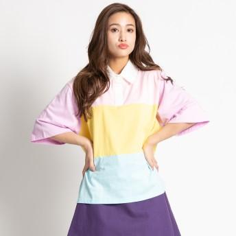 Tシャツ - WEGO【WOMEN】 カラフルキリカエラガーシャツ WC18SM06-L012