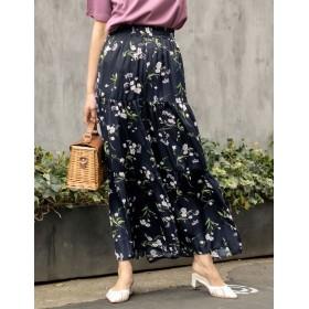 ワイドパンツ - Re: EDIT スカート見えするシルエットで華やかに 花柄ワイドティアードパンツ ボトムス/パンツ/ワイドパンツ・ガウチョパンツ
