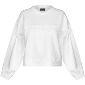 《9/20まで! 限定セール開催中》ERMANNO DI ERMANNO SCERVINO レディース スウェットシャツ ホワイト 40 コットン 95% / ポリウレタン 5% / ポリエステル / ナイロン / モヘヤ