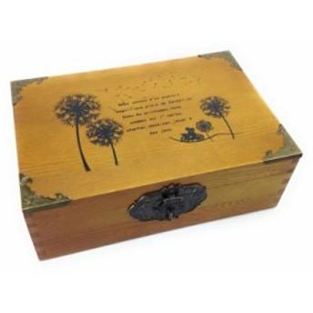 【訳あり】木箱 収納ボックス アンティーク風 コーナー金具付き 鍵付き (タンポポ)