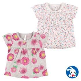 花柄胸タック半袖Tシャツ【60-70cm】[ベビー 女の子 ベビー服 アウトウェア][西松屋]