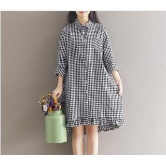 ギンガムチェックと裾フリルが可愛いデザイン!優しい着心地のダブルガーゼ七分袖シャツワンピース(2色展開)