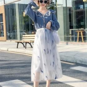 c7dcacee2c845 スカート チュールスカート ハイウエスト ロング丈 春夏 ウエストゴム 刺繍 Aラインスカート 透け