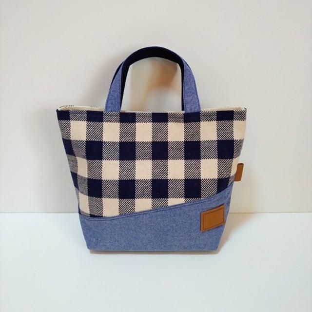 *Tote Bag* Check×Blue *トートバッグ* チェック×ブルー