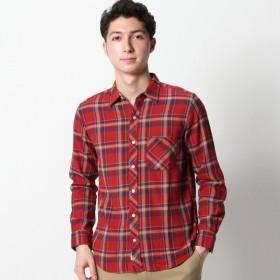 シャツ メンズ メンズ ナチュラルストレッチチェックシャツ【M〜LL】 「レッドブラウン」