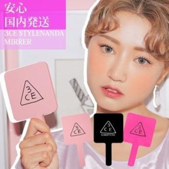 3CE ハンドミラー Square hand mirror STYLENANDA 手鏡 メイク道具 韓国コスメ