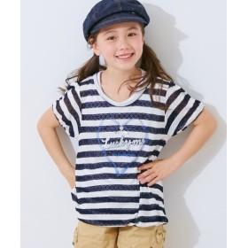 レースボーダーバルーンTシャツ(女の子 子供服。ジュニア服) Tシャツ・カットソー