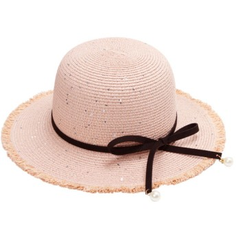 帽子全般 - 夢展望 帽子 パール リボン 編み ハット 春 可愛い ピンク ホワイト グレー ブラウン F レディース 夢展望