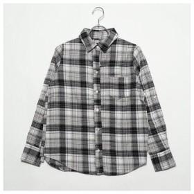 ナノ ユニバース  NANO UNIVERSE outlet OU/ビエラ起毛チェック2wayシャツ (ブラック×オフホワイト)
