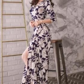 【0557】ワンピース ラップスカート 花柄 レディースファッション ブルー ブラック お呼ばれ パーティー 二次会 リゾート