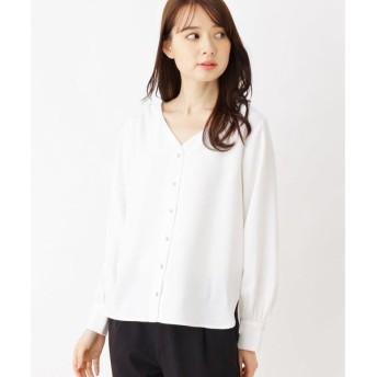 index / インデックス 【洗濯機洗いOK】ジョーゼットVネックシャツ