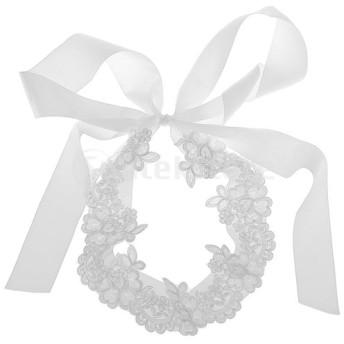 エレガントな花 アップリケビーズ ウェディングドレス サッシ ブライダルベルト ホワイト