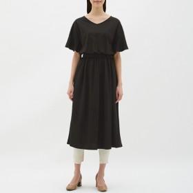 (GU)ウエストマークワンピース(5分袖) BLACK L