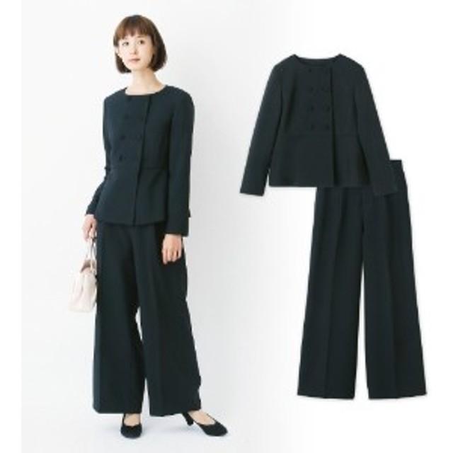 【自宅で洗える】ぺプラムジャケット&パンツセットスーツ【9AR~23ABR】