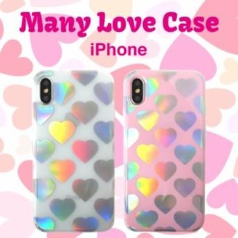 メール便 送料無料 ホログラム ハートマーク iPhone6s iPhone7 iPhone8 iPhoneXs TPU ケース アイフォンケース LOVE ラブ ピンク