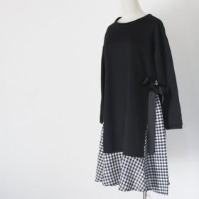 【送料無料】 チェック柄スカートとサイドリボンのワンピース