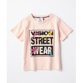 VISION カラフルロゴTシャツ キッズ ライトピンク