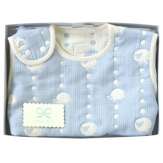 50df6289ab6ec4 Hoppetta 6重ガーゼ スリーパー ギフトセット ブルー (ベビーサイズ) 18111038 赤ちゃん