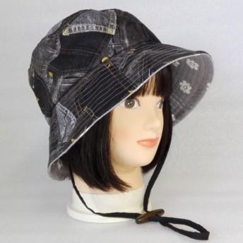 デニムプリント黒系ポケット柄★形状保持ワイヤー入り帽子レディース