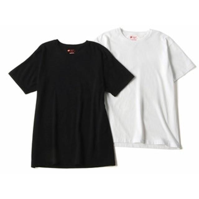 HANES 「Japan Fit」 クルーネックTシャツ白黒2枚組 メンズ ホワイト*ブラック