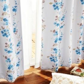 【58サイズ】水彩タッチのフラワー柄カーテン