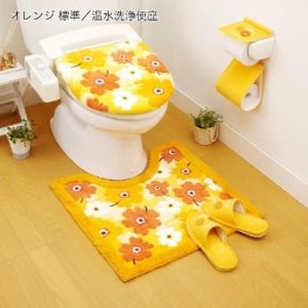 フラワー柄のトイレマット・フタカバー(単品・セット)