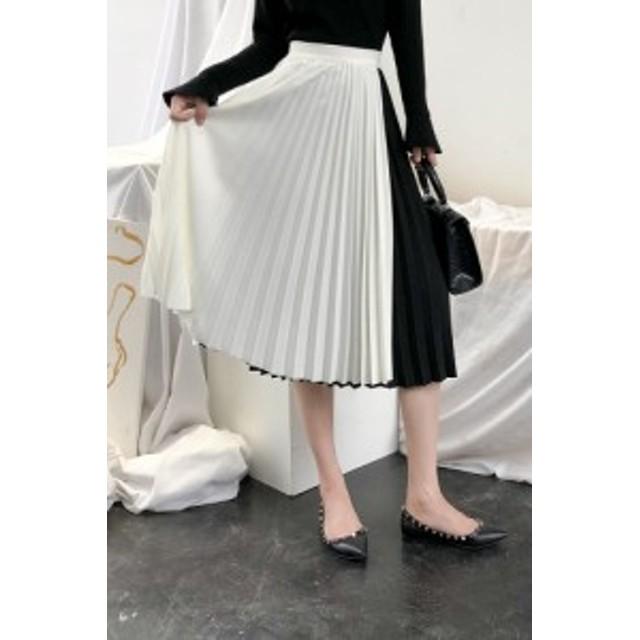 お洒落●配色●プリーツスカート 白黒