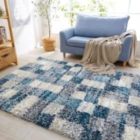 ブロック柄のトルコ製ウィルトン織りラグ