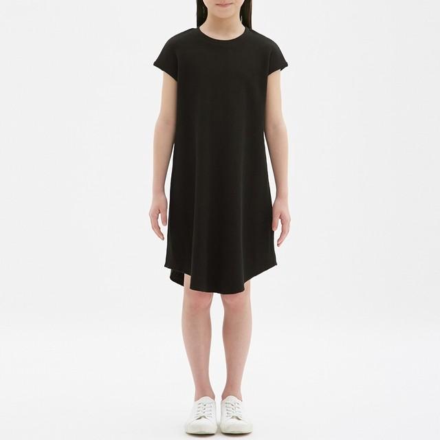 (GU)GIRLSワッフルワンピース(ノースリーブ) BLACK 140