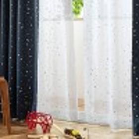 【99サイズ】箔プリントがきれいなスターデザインのボイルカーテン