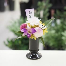 【ヒチリキ】パープル プリザーブドフラワー 菊&ポンポン菊&デンファレ&アジサイ