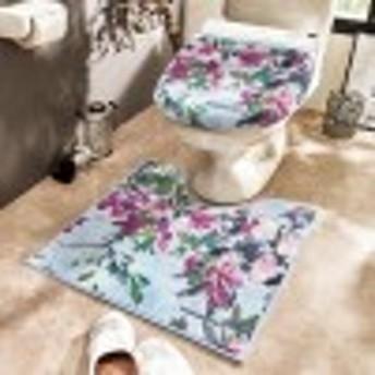 エレガントな花柄トイレマット&O/U・温水洗浄兼用フタカバー(単品・セット))