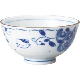 サンリオ(SANRIO) 「 Hello Kitty(ハローキティ) 」 キティ ブルーローズ(染付) お茶碗(化粧箱入) 直径11cm 白 307131