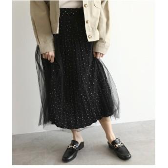 ひざ丈スカート - OZOC チュール重ねプリーツスカート
