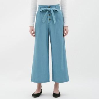 (GU)デニムワイドパンツ BLUE M