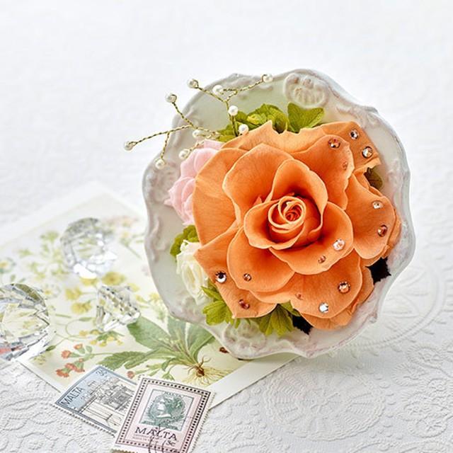 【日比谷花壇】プリザーブドアレンジメント ジュエルローズ「トパーズ」
