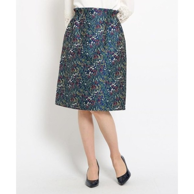 SunaUna / スーナウーナ 【洗える】草花柄ジャカードスカート