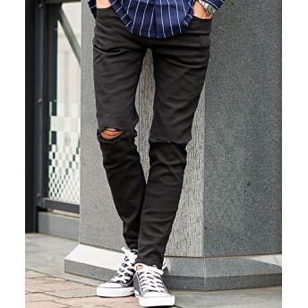 シルバーバレット CavariAダメージ加工ストレッチブラックスキニーパンツ メンズ ブラック 48(XL) 【SILVER BULLET】