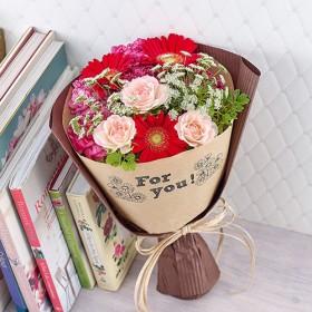 【日比谷花壇】メッセージブーケ「For you(レッド)」