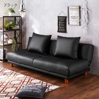 クッション付き合皮のソファーベッド